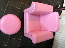 Pink leather chair and foot stool