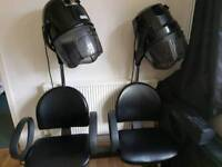 Hooded Hair Dryers with attached chairs
