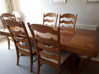 Extending Pine Dining Table, 2 Carver Chairs, 4 Chairs, side table and Display Cabinet/Cupboard