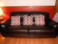 Italian Leather sofas - 3 & 2 seater, dark brown, in excellent condition