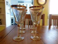 Gold rimmed large wine glasses