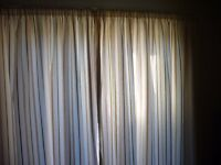 Sheringham Norfolk Cream striped, lined Curtains for Large window eg. Patio Door 86'' x 82''