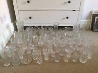 Job lot of 71 cut glass vases