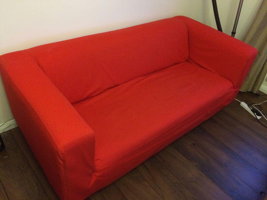 Ikea Klippan Two Seat Sofa Flackarp Red Orange