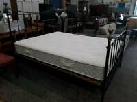 Kingsize Black Metal Bed And Mattress