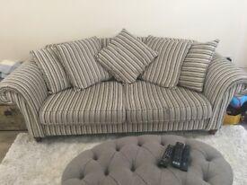 Large Next Sofa - grey, silver and cream stripe