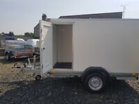 BRAND NEW MODEL BOX TRAILER 8.2FTx5FTx6FT UNBRAKED WITH RAMP DOOR 750KG