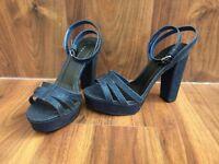 NEW LOOK Travolta blue glitter high heels, size 5