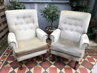 2 Deep Buttoned Wingback Armchairs Grey Green Velvet - perfect for re-upholstery