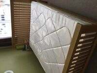 Wood double bed and mattress