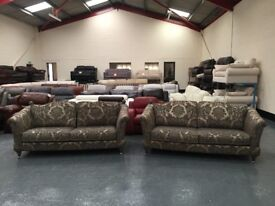 Ex-display Windsor gold and silver fabric pair of 3 seater sofas