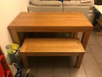 Solid oak table and benches