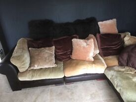 Leather sofa with cushioned bottom