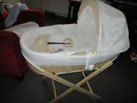 Used Moses Basket with matress, sheet, canopy and stand in neutral colours