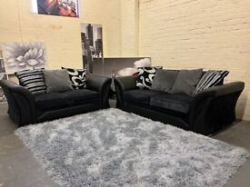 GORGEOUS BLACK DFS FABRIC 3+2 SOFA SET IN EXCELLENT CONDITION WITH ALL CUSHIONS FREE DELIVERY