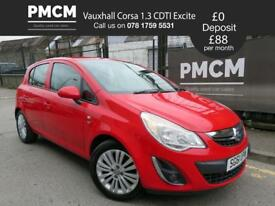 VAUXHALL CORSA 2011 1.3 CDTI EXCITE ECOFLEX - LOW TAX - LOW INSURANCE - polo fiesta clio (red) 2011