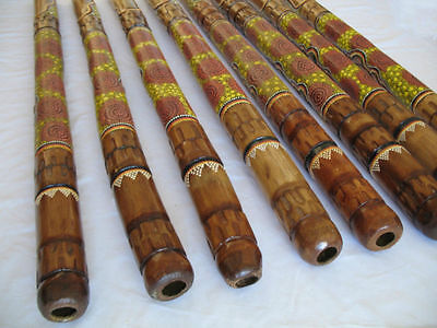 "47""120cm ABORIGINAL DIDGERIDOO - LIZARD HANDCARVED & DOT-PAINTED - EASY TO PLAY"