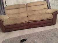 X2 large 3 seater reclining sofas, beige and brown