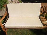 2 zipped wipeable cushions for garden bench. New one needs longer cushions, 100 X 40 X 8 cms ,