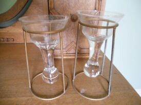Two Ornate Hanging Glass Candle Holders