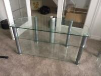 Three tier glass tv corner unit