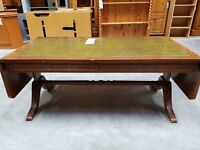 Extending leather inlayed solid wood cofee table