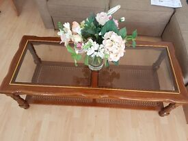 Coffee table wood/glass brown