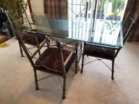 Uniquely Styled Glass Dining Table & 6 Matching Chairs