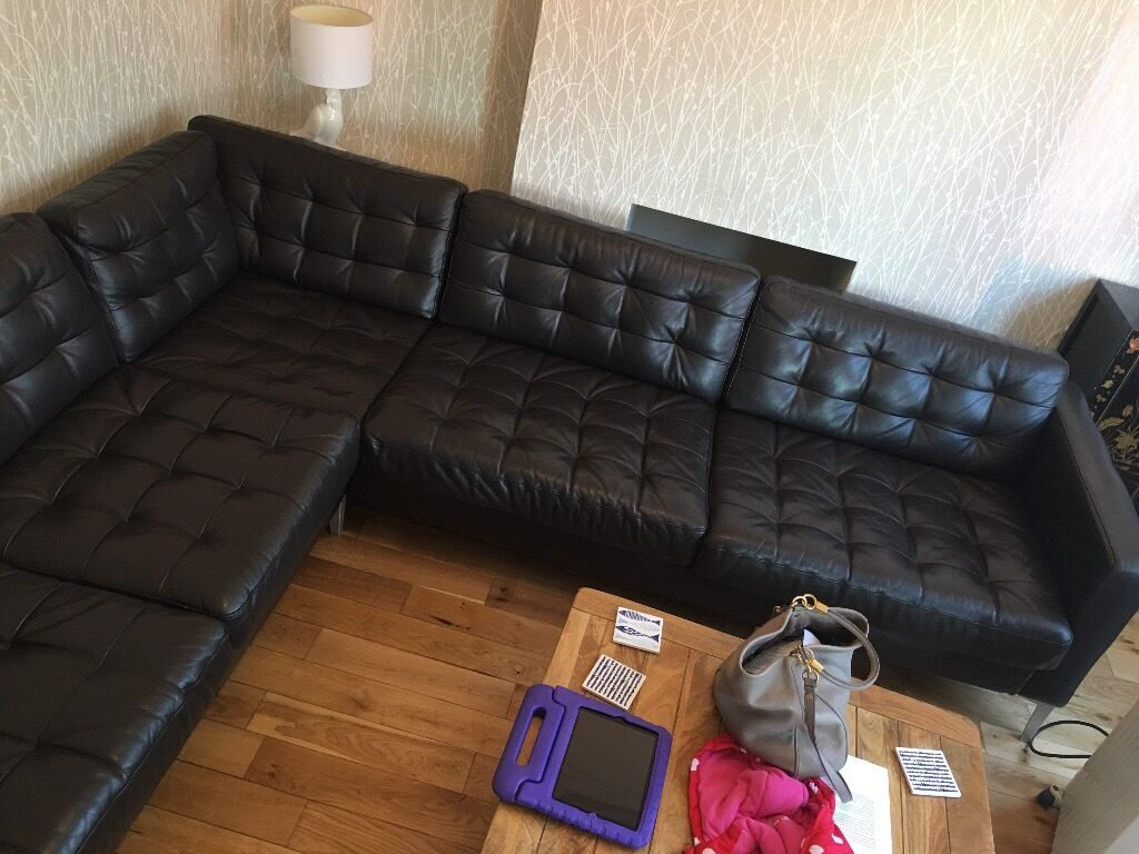 Ikea Karlstad Brown Leather Corner Sofa