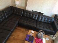Ikea Karlstad brown leather corner sofa