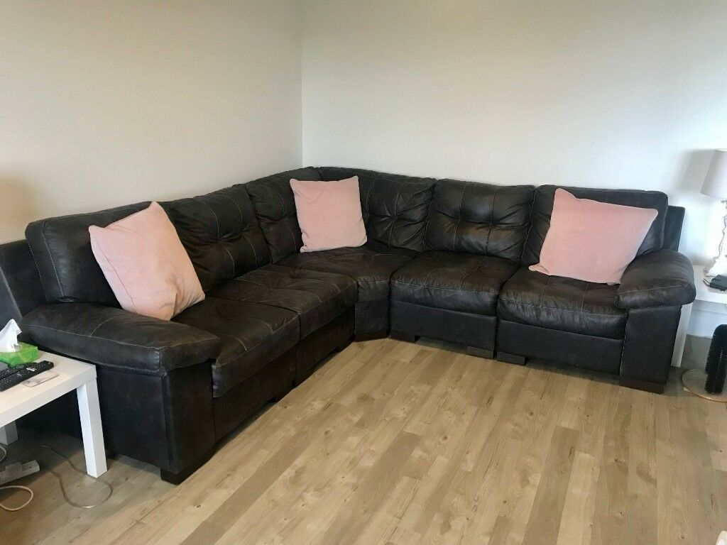 Leather Corner Sofa Unit In Newcraighall Edinburgh