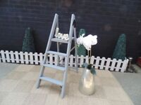 SOLID WOOD VINTAGE LADDERS PAINTED WITH LAURA ASHLEY PARIS GREY IN VERY GOOD CONDITION 37/110 cm £25