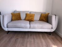 3+2 and armchair. DFS Zuri Sofa In Beautiful Light Grey Colour 3,2 and 1 seater