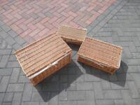 Set of 3 Wicker Storage Baskets - Lined