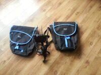 Bike pannier rack & bag for any bike like shimano trek specialized bianchi btwin altura brooks