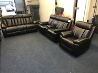 BLACK LEATHER AIR THREE PIECE SUITE RECLINER 3 AND 2 SEATER SOFA PLUS ROCKING ARMCHAIR BRAND NEW