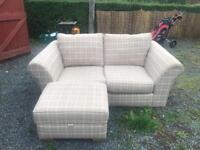 NEXT cream checked sofa with large love seat armchair and storage footstool