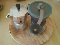 manual coffee grinder and moka pot