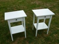 Ikea Hemnes Bedside Tables, Pair of 2, Satin White