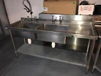 Double Commercial Sink and Taps