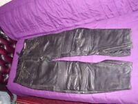 "2 Pairs of Black Leather Bike Jeans 32""waist"