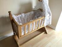 Handmade oak swinging baby crib/cot