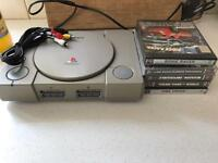 Playstation 1 with games and 1 controller
