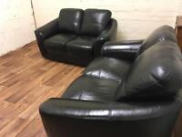 Black leather sofas (free delivery)