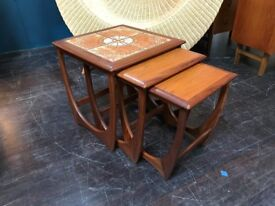 Nest of Tables with Tile Top. Retro Vintage Mid Century