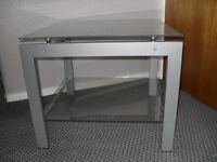 Metal and Glass 2 Tier Square Ocaisional Table