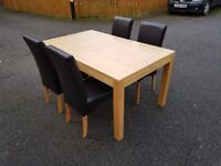 New Oak Dining Table by Bently Designs & 4 Brown Leather Chairs FREE DELIVERY 536