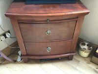 Small solid mahogany chest with pull out shelf