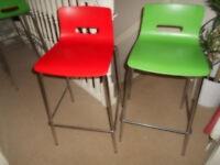 Allermuir, Casper breakfast/ bar stool with plastic seat and chrome frame.