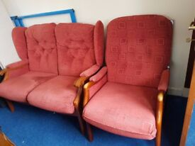 Vintage 2 Seater Wooden Framed Sofa, Wooden framed Armchair
